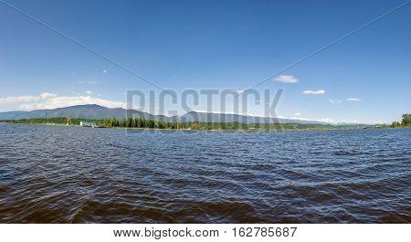 Beautiful panorama of the lake of Incit on a clear Sunny day Pitsunda Abkhazia.