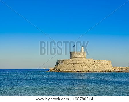 Mandaki Harbor Port And Fort Of St. Nicholas In Rhodes