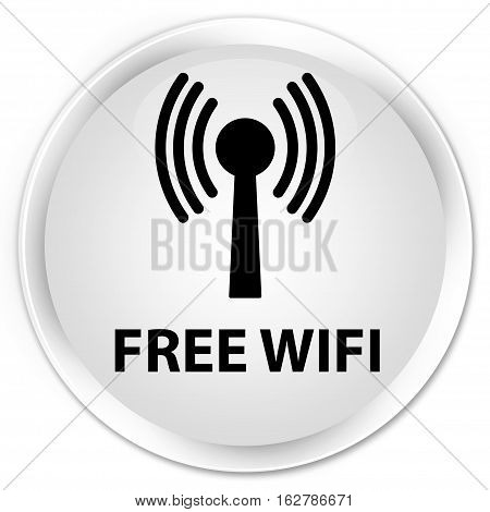 Free Wifi (wlan Network) Premium White Round Button