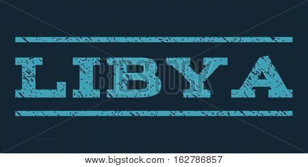 Libya watermark stamp. Text caption between horizontal parallel lines with grunge design style. Rubber seal stamp with unclean texture. Vector blue color ink imprint on a dark blue background.