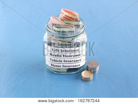 Payment of the life, health, vehicle and home insurance premium in Indian rupees concept.