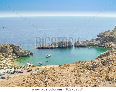 Saint Paul Beach In Lindos, Greek Island Of Rhodes