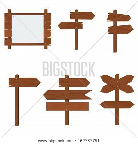 Wooden signboards, wood arrow sign vector set. Flat color style design