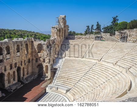 View Of The Odeon Theater Located In Athens