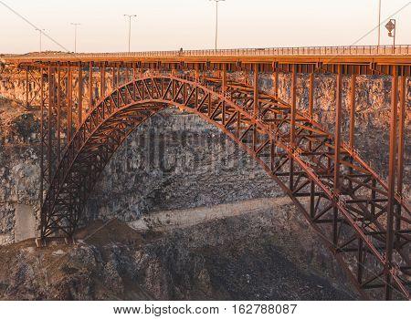 Large steel bridge over river canyon in Idaho. Perrine Bridge in Twin Falls, Idaho, USA.