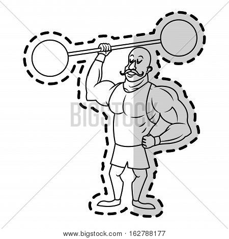 Circus strength man icon. Carnival fair entertainment and performance theme. Isolated design. Vector illustration