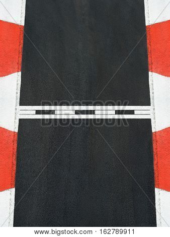 Start and Finish motor race line asphalt texture on Grand Prix street circuit