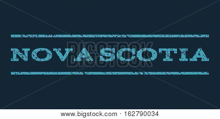 Nova Scotia watermark stamp. Text caption between horizontal parallel lines with grunge design style. Rubber seal stamp with dirty texture. Vector blue color ink imprint on a dark blue background.