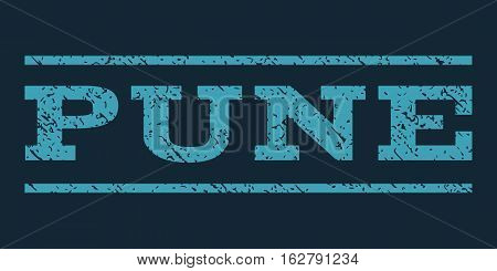 Pune watermark stamp. Text caption between horizontal parallel lines with grunge design style. Rubber seal stamp with dirty texture. Vector blue color ink imprint on a dark blue background.