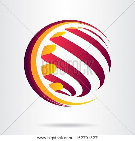 Logo stylized spherical surface with abstract shapes. This logo is suitable for global company, world technologies and media and publicity agencies