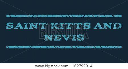 Saint Kitts and Nevis watermark stamp. Text caption between horizontal parallel lines with grunge design style. Rubber seal stamp with scratched texture.