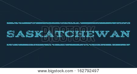 Saskatchewan watermark stamp. Text caption between horizontal parallel lines with grunge design style. Rubber seal stamp with dust texture. Vector blue color ink imprint on a dark blue background.