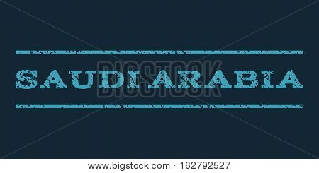 Saudi Arabia watermark stamp. Text caption between horizontal parallel lines with grunge design style. Rubber seal stamp with dust texture. Vector blue color ink imprint on a dark blue background.