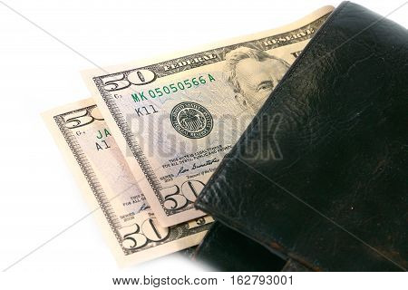 leather wallet with a small amount of paper money dollar