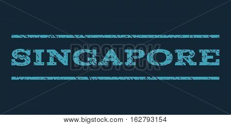 Singapore watermark stamp. Text caption between horizontal parallel lines with grunge design style. Rubber seal stamp with dirty texture. Vector blue color ink imprint on a dark blue background.