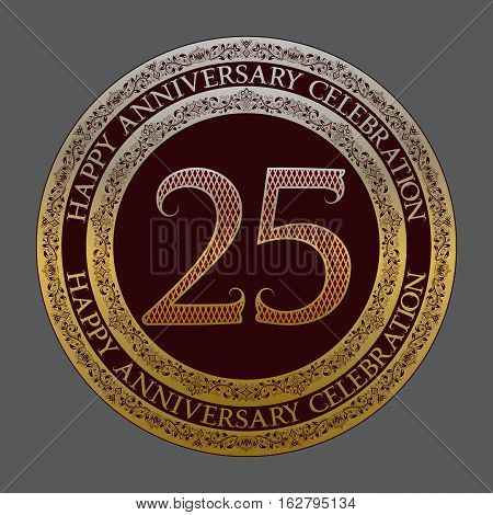 Twenty fifth anniversary celebration logo symbol. Golden maroon medal emblem in vintage style.