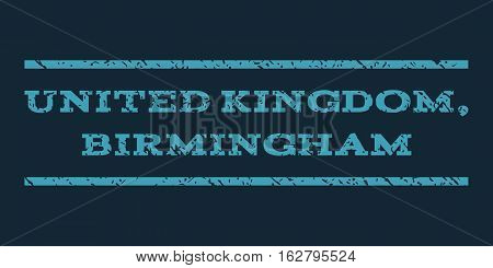 United Kingdom, Birmingham watermark stamp. Text caption between horizontal parallel lines with grunge design style. Rubber seal stamp with dust texture.