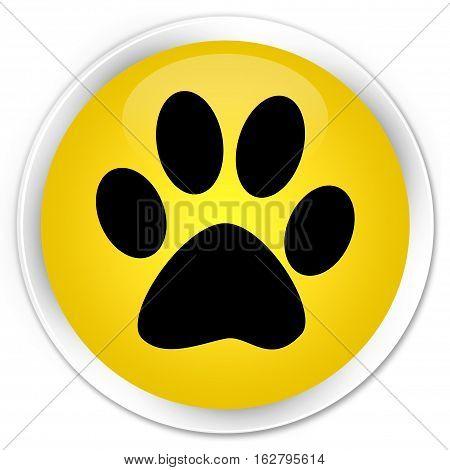 Animal Footprint Icon Premium Yellow Round Button