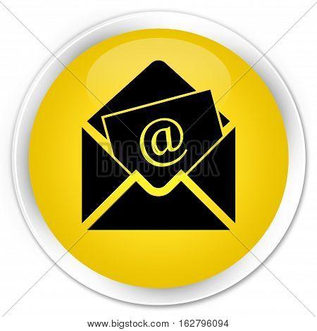 Newsletter Email Icon Premium Yellow Round Button