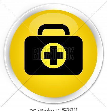 First Aid Kit Bag Icon Premium Yellow Round Button