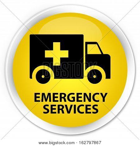 Emergency Services Premium Yellow Round Button