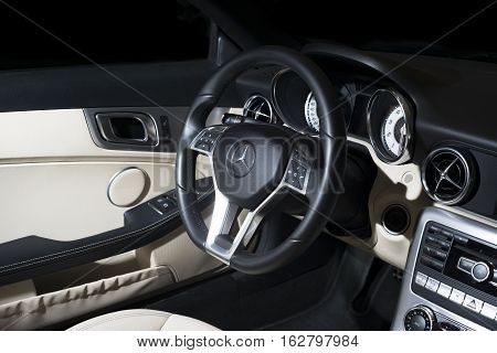 Sankt-Petersburg, Russia November 24, 2016 : Mercedes-Benz SLK 350 Cabrio AMG interior, test drive on October 22 2016 in Russia.