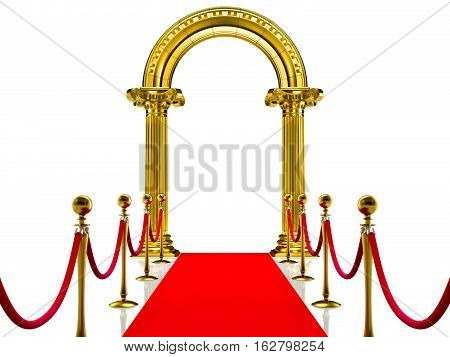 Golden ancient arch with Red Carpet 3d render