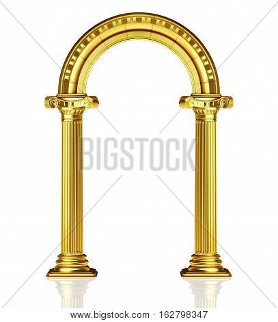 Gold arch isolated on white 3d render