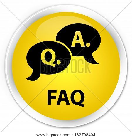 Faq (question Answer Bubble Icon) Premium Yellow Round Button