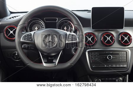 Sankt-Petersburg, Russia October 22, 2016 : Mercedes-Benz CLA 45 2016 AMG interior, test drive on October 22 2016 in Russia.