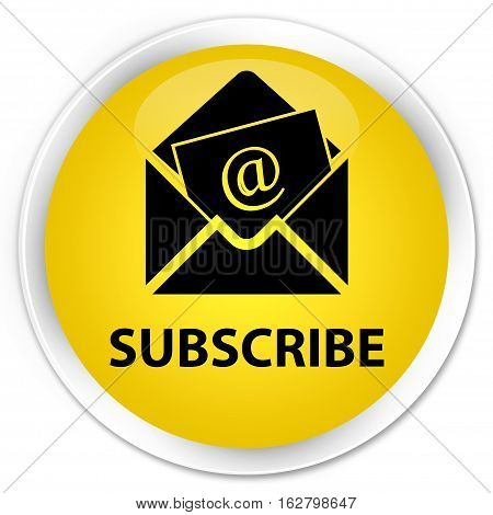 Subscribe (newsletter Email Icon) Premium Yellow Round Button
