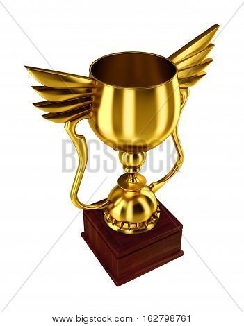 Golden trophy cup isolated on a white background