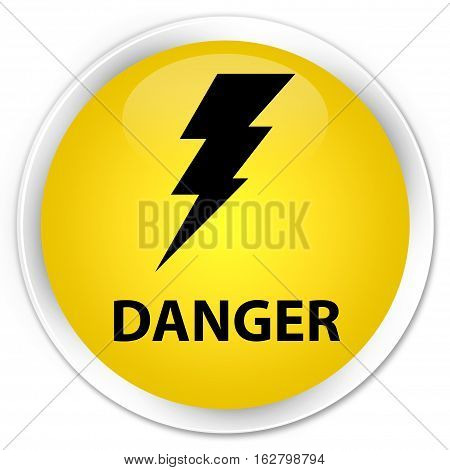 Danger (electricity Icon) Premium Yellow Round Button