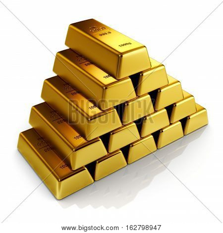 Golden bars isolated on a white 3d illustration