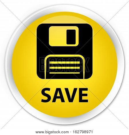 Save (floppy Disk Icon) Premium Yellow Round Button