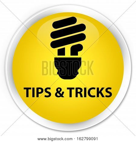 Tips And Tricks (bulb Icon) Premium Yellow Round Button