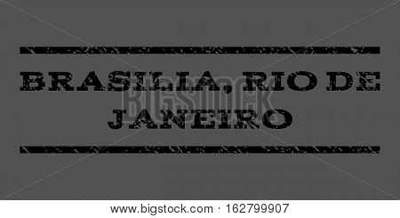 Brasilia, Rio De Janeiro watermark stamp. Text tag between horizontal parallel lines with grunge design style. Rubber seal stamp with dust texture. Vector black color ink imprint on a gray background.