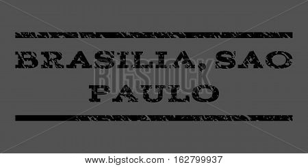 Brasilia, Sao Paulo watermark stamp. Text tag between horizontal parallel lines with grunge design style. Rubber seal stamp with dirty texture. Vector black color ink imprint on a gray background.