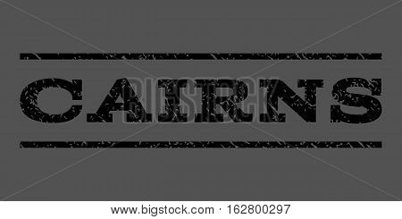 Cairns watermark stamp. Text caption between horizontal parallel lines with grunge design style. Rubber seal stamp with dirty texture. Vector black color ink imprint on a gray background.
