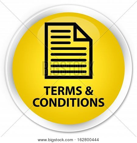 Terms And Conditions (page Icon) Premium Yellow Round Button