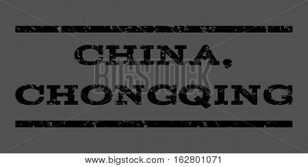China, Chongqing watermark stamp. Text tag between horizontal parallel lines with grunge design style. Rubber seal stamp with scratched texture. Vector black color ink imprint on a gray background.