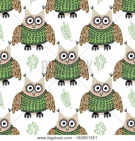 Vector seamless pattern with funny cute owls