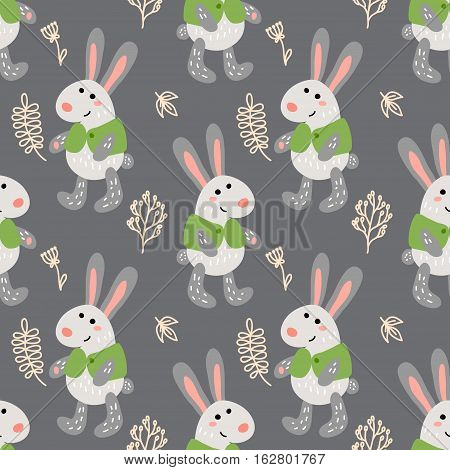 Vector seamless pattern with funny cute rabbits