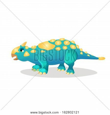Thrinaxodon isoated on white. Extinct genus of cynodont. Dinosaurs character monster, prehistoric animal. Sticker for children. Funny cartoon creature. Small type of dinosaur. Vector illustration