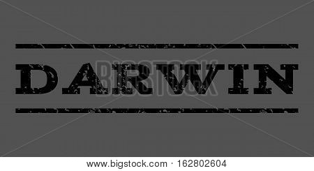 Darwin watermark stamp. Text tag between horizontal parallel lines with grunge design style. Rubber seal stamp with dust texture. Vector black color ink imprint on a gray background.