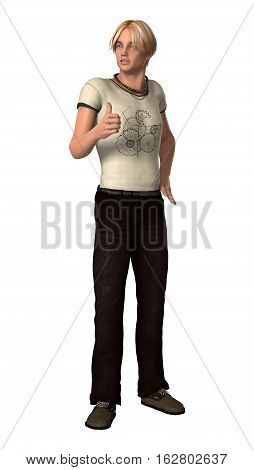 3D Rendering Teenager Boy On White