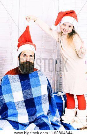 Santa Man With Blonde Girl