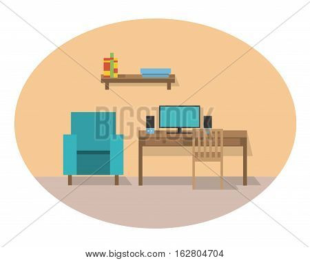Vector illustration flat with furniture and the computer. Office theme.banner for web design.Home and office furniture. Elements of design of the websites the poster, a banner, a leaflet.