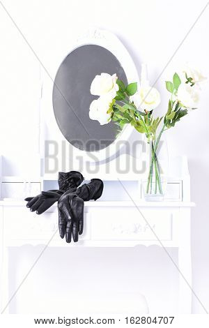Black Glovers On Female Boudoir