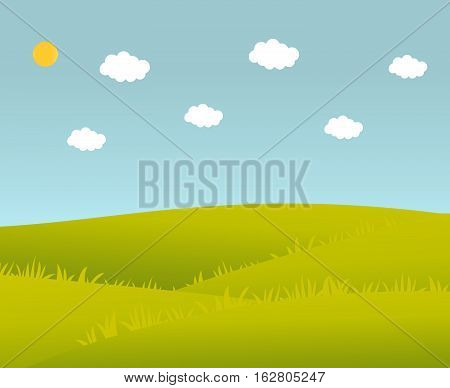 Vector illustration of a summer landscape.Elements of design of the websites,banner,poster.Summer green landscape with clouds and meadows.